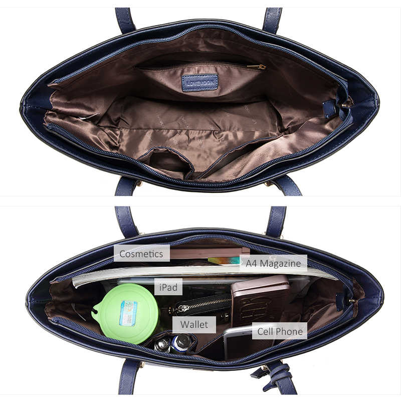 Женский набор сумок 3 шт LOVEVOOK, большая повседневная сумка на плечо из искусственной кожи, маленькая сумочка через плечо для девочек и дамы, длинный кошелек с коротким ремешком для всех сезонов, 2019