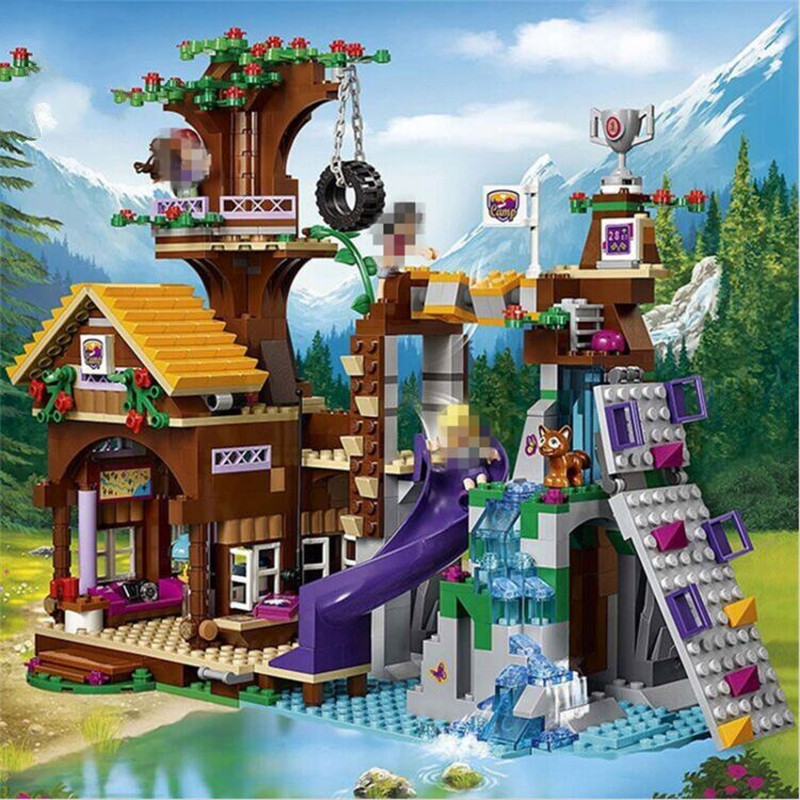 (A Toy A dream) 01047 Friends Girl Series 784pcs Building Blocks kids toys Bricks Adventure Camp Tree House toy gifts Compatible a toy a dream lepin 24027 city series 3 in 1 building series american style house villa building blocks 4956 brick toys