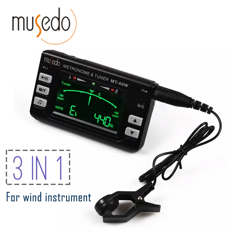 Musedo MT-40W Metro-tuner&Tone Generator Electronic Digital LCD 3 in 1 LCD Clarinet Saxophone Tuner/Metronome/Tone Generator fmt 60 2 0 lcd digital 3 in 1 metronome tuner tone generator black 2 x aaa