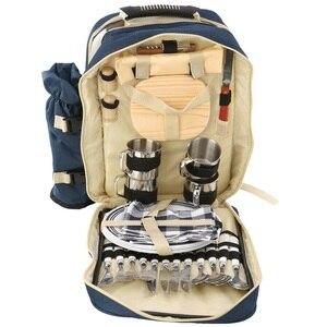 Image 2 - Outdoor Camping Portable Shoulder Picnic Bag Picnic Backapck Rucksack BBQ Tool Package 4 Persons