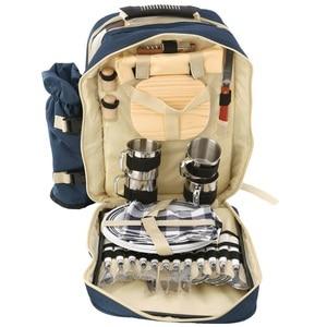 Image 2 - Outdoor Camping Tragbare Schulter Picknick Tasche Picknick Backapck Rucksack BBQ Werkzeug Paket 4 Personen