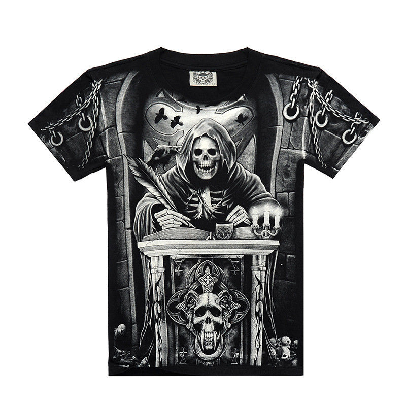 New 2016 Men t shirt Short sleeved Creative Cotton t shirts Skull 3D Printed male Clothing