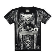 New 2016 Men t-shirt Short-sleeved Creative Cotton t-shirts Skull 3D Printed male Clothing Free shipping