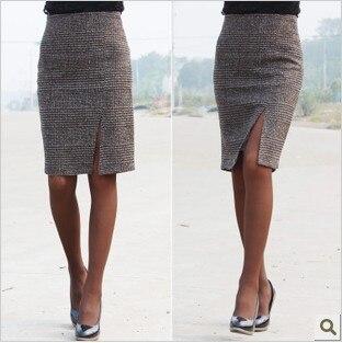 O envio gratuito de 2016 chegada nova diagonal-vent Dividir sexy OL na altura do joelho-comprimento de moda de alta qualidade Saia Lápis SMLXXXXL