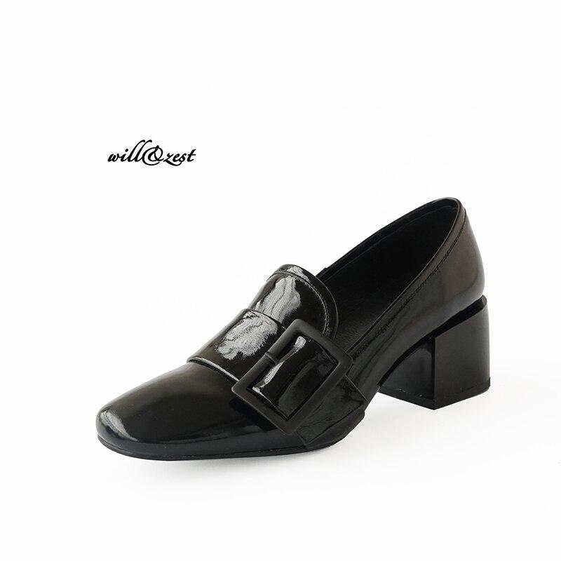 Square toe  patent leather vintage Mid Block Heel Dress Pumps Black retro women's shoes wedding  shoes рюкзак case logic 17 3 prevailer black prev217blk mid