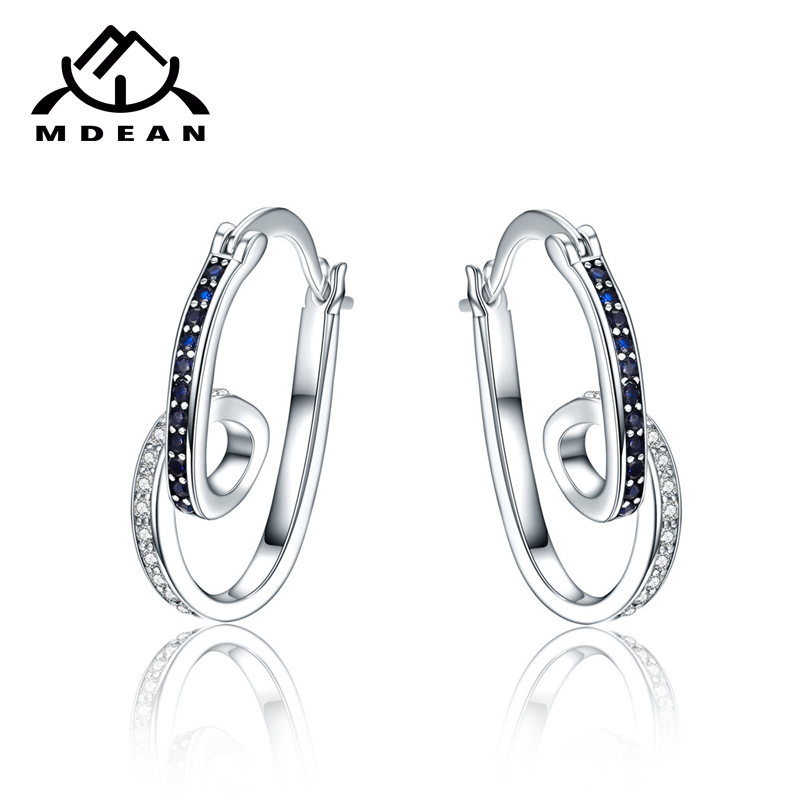 MDEAN 화이트 골드 컬러 Brincos AAA 지르콘 고리 귀걸이 for wedding boucle d' oreille jewelry 귀걸이 MSE075