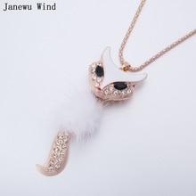 Janewu Wind fur ball white Fox Pendant Necklace female rose gold color popcorn chain Necklace women