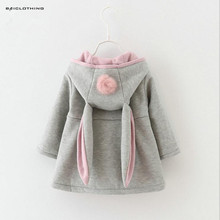Winter Autumn Rabbit Ear Hooded Girl Coat Children Outerwear Kids Clothing Baby Girl Jacket Elegant Coat Retail