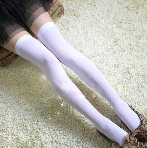 Pure White Women female Girl Thigh Stockings Fashion Slim Cute Over Knee high Socks Dancing Party Show Ladies Pantyhose