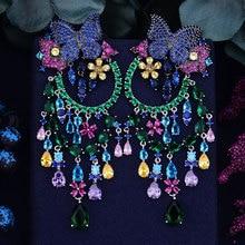 GODKI 90mm Kelebek Çiçek Bom Lüks Moda Tam Mikro Kübik Zirkonya Naija düğün elbisesi Damla Küpe moda takı