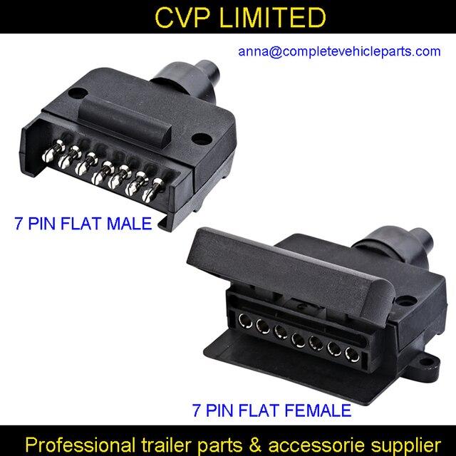 7 pin flat male female trailer connector plug socket /boat/caravan ...