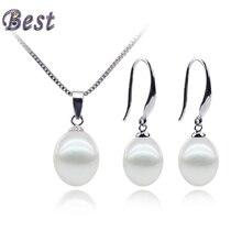 Snh aaa 8-9mm gota de agua dulce natural perla joyería set con 925 pendientes de plata esterlina y colgante real cultivado genuino conjunto