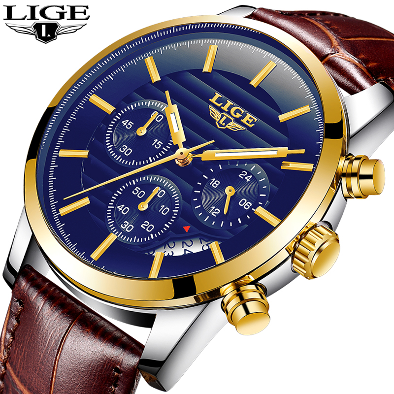 LIGE Mens Watches Sports men Quartz Watch Leather sport Casual Fashion Waterproof Top Business Luxury Brand military Male Clock men watch top luxury brand lige men s quartz watches fashion casual mesh belt dress business military male clock reloj hombre