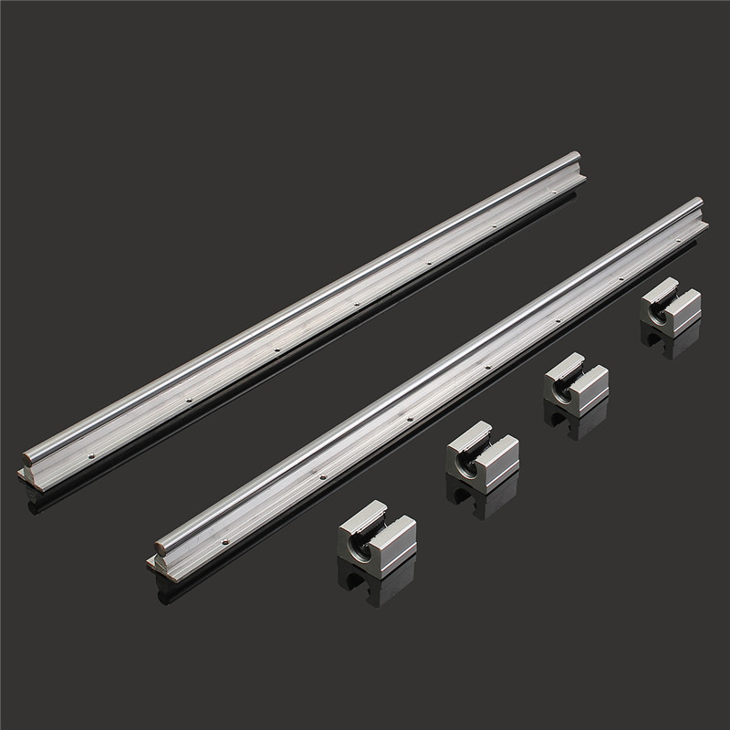 MTGATHER 2Pcs SBR12 700mm 12MM Linear Slide Guide Rail Shaft + 4 Pcs SBR16UU Blocks CNC 700x 11mm 2x sbr12 700mm 12mm linear bearing rail slide guide shaft with 4pcs sbr12uu blocks