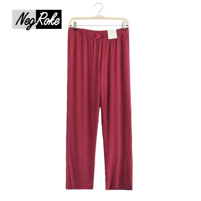 Sexy primavera y otoño polka dot modal sexy Vino Tinto mujeres pantalones de pijamas homewear casual pantalones de pijama para las mujeres plus tamaño