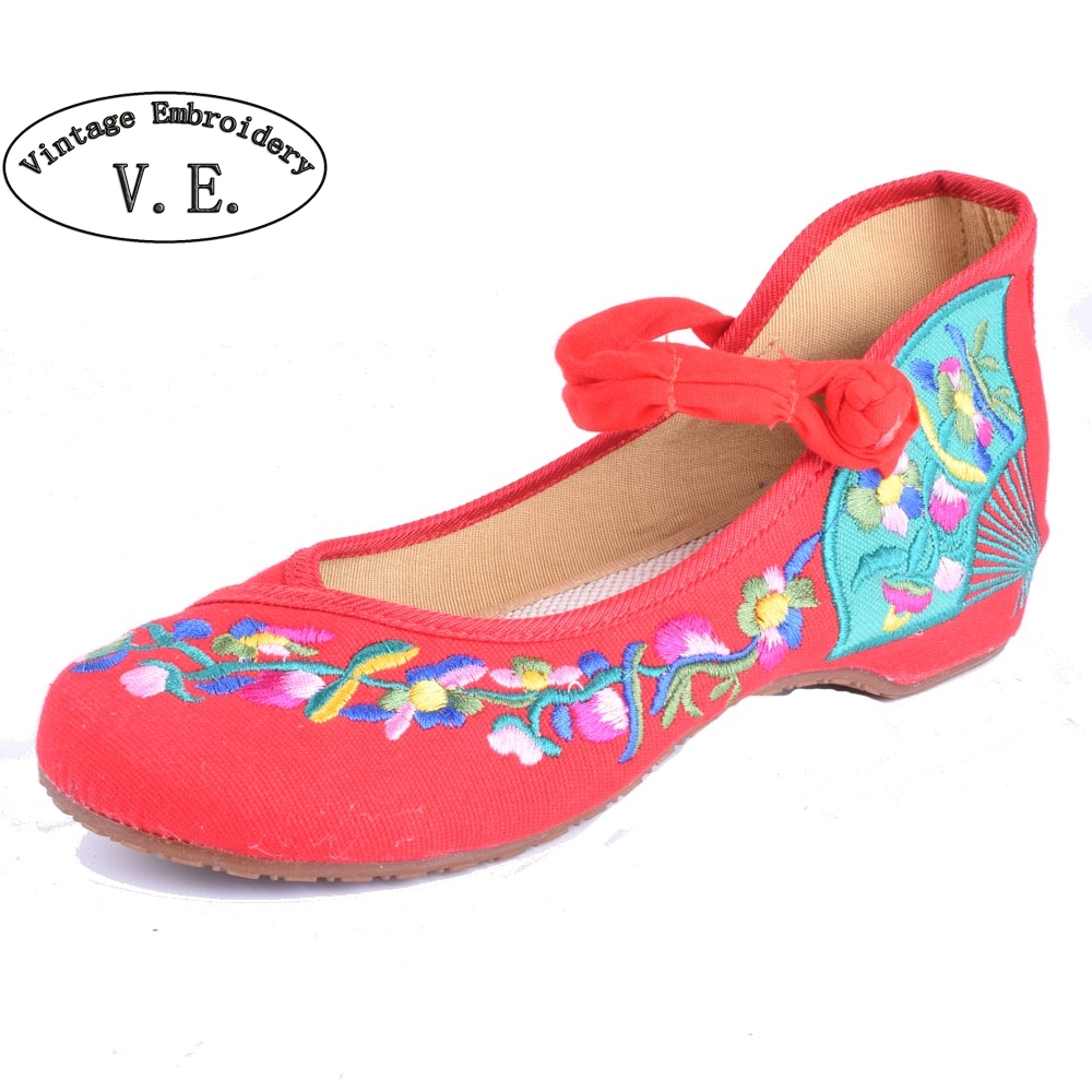 Vintage Women Flats Old Beijing Mary Jane Casual Flower Embroidered Cloth Soft Canvas Dance Ballet Shoes Woman Zapatos De Mujer chinese women flats shoes flowers casual embroidery soft sole cloth dance ballet flat shoes woman breathable zapatos mujer