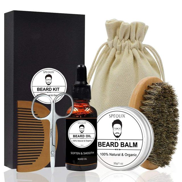 SPEQUIX Men's Beard Grooming Kit Included Massage Beard Oil, Mustache Balm,Beard Brush,Comb  Sharp Scissors 5PCS/Set 1
