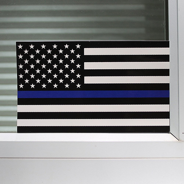 65115cm Police Officer Blue Line American Flag Decal Stickers Creative Decorative Wall Sticker Home Kt0976