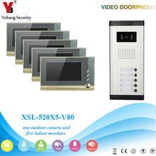 YobangSecurity Villa Apartment Eye Door bell 7″TFT LCD Color Video Door Phone Doorbell Intercom System 1 Camera 5 Monitor