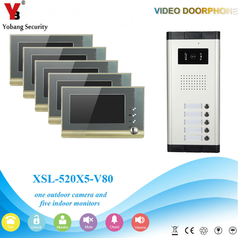 YobangSecurity Villa Apartment Eye Door bell 7TFT LCD Color Video Door Phone Doorbell Intercom System 1 Camera 5 Monitor