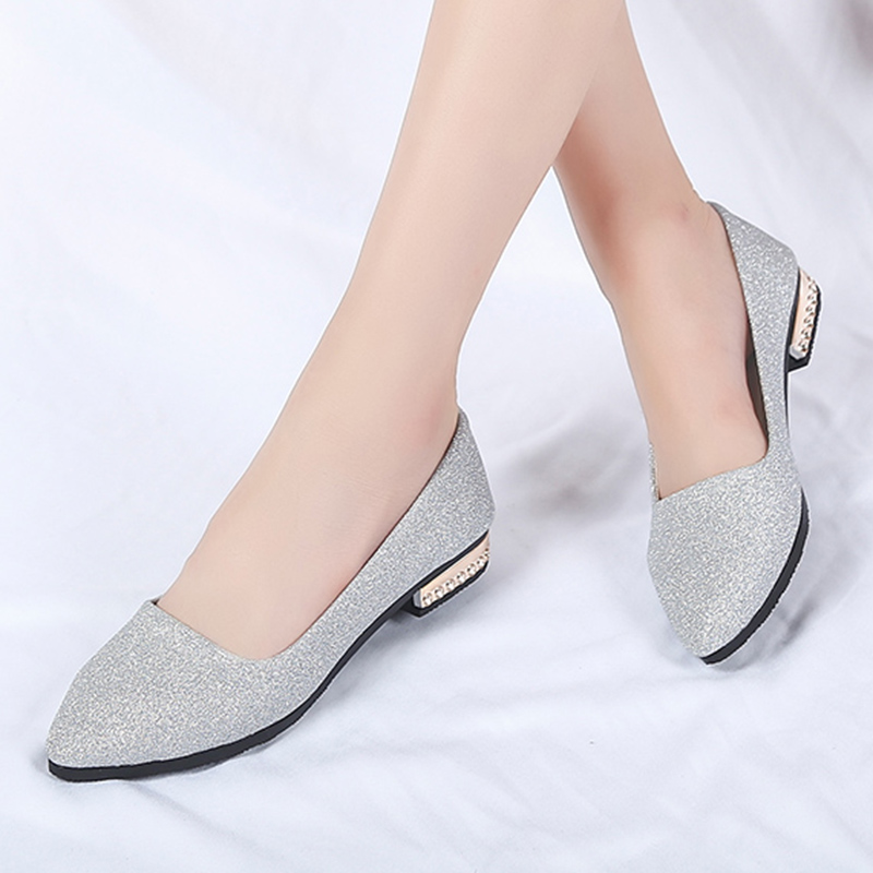 Women flats Shoes 2018 Woman Ballet Flats Pointed Toe Slip on Shoes Sequined Cloth Flat Gold Heel Ladies Shoes zapatos mujer women pointed toe flats 2016 casual shoes female graffiti ballet flats mujer zapatos footwear for woman