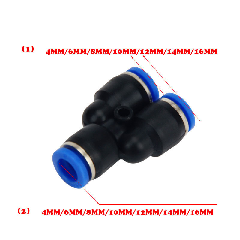 Frete grátis 3 Forma Porta Forma Y Pneumática 12mm 8mm 10mm 6mm 4 milímetros Traqueal rápida tipo de inserção de cabeça três pass variável