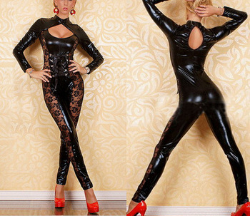 Sexy Women Black Vinyl Lace Hot Catsuit Dominatrix 1