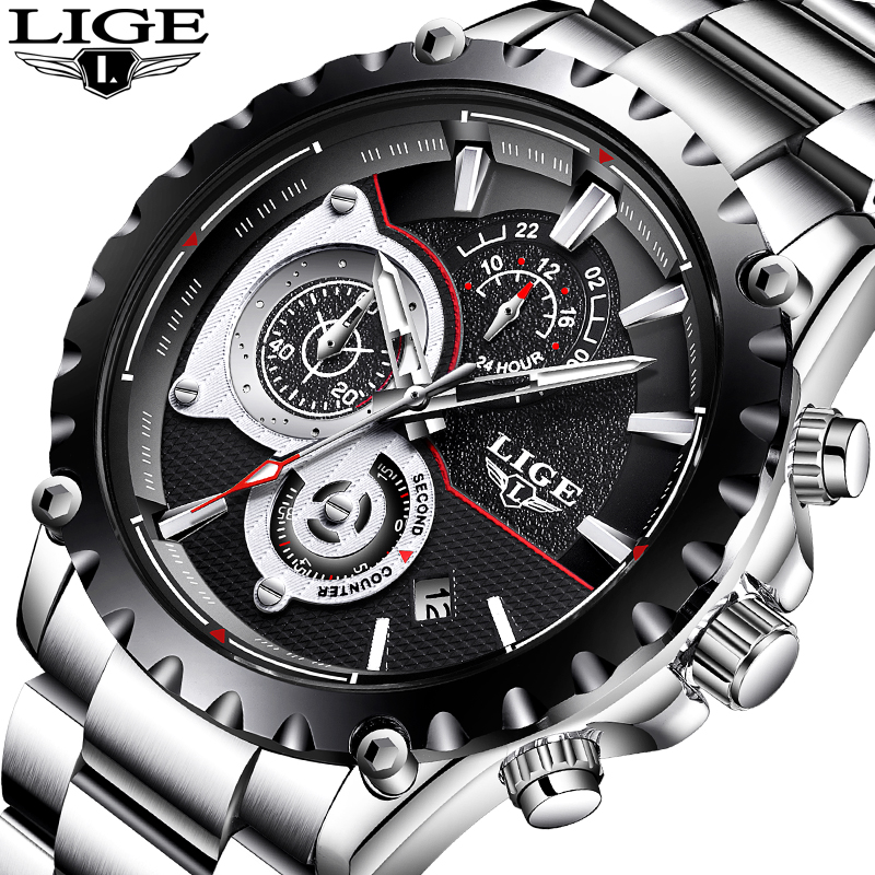 Top Luxury Brand LIGE Men Watch Quartz Clock Mens Watches Sports Chronograph Leather Waterproof Fashion Watch Relogio Masculino karinluna best quality crystals brand big size 34 43 sexy high heels summer sandals shoes women party woman shoes