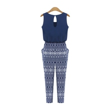 Summer Women Print O-neck Sleeveless Jumpsuit Overalls Fashion Loose Slim Rompers Sexy Jumpsuits Playsuits
