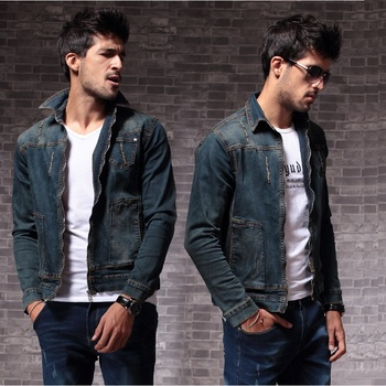 Fashion Autumn Denim Jacket Motorcycle Men's Ripped Outerwear Slim Fit Collection Vintage Casual Distressed Jeans Coat for Male