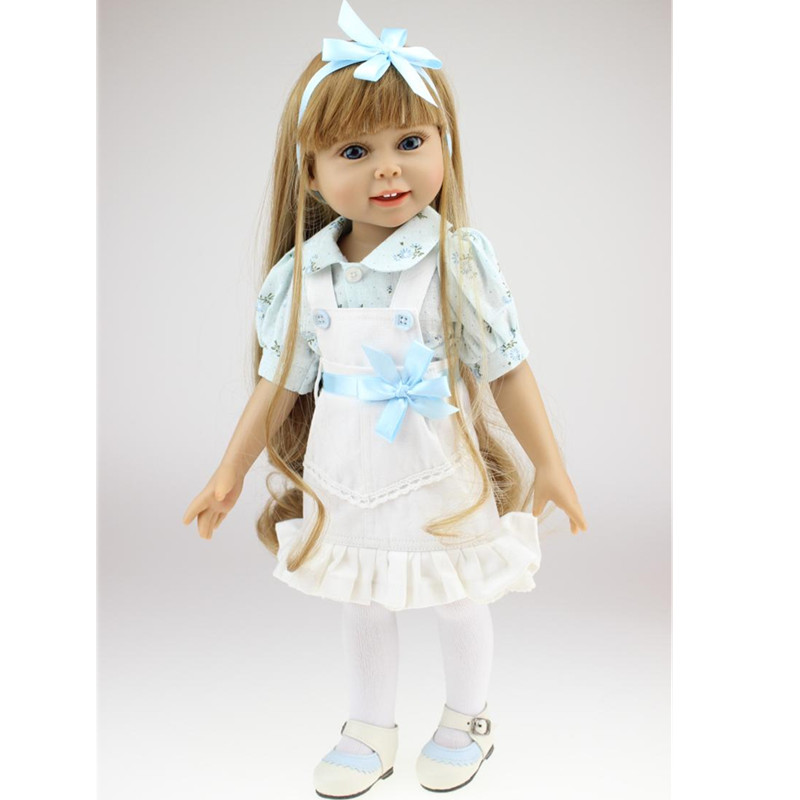 18 Inch Silicone Reborn Soft Baby Dolls Girl Handmade Vinyl Doll Lifelike Babies Princess Toys Children Kids Playmate Gifts L672 18 inch dolls handmade bjd doll reborn babies toys for children 45cm jointed plastic toy dolls for girls birthday gifts juguetes