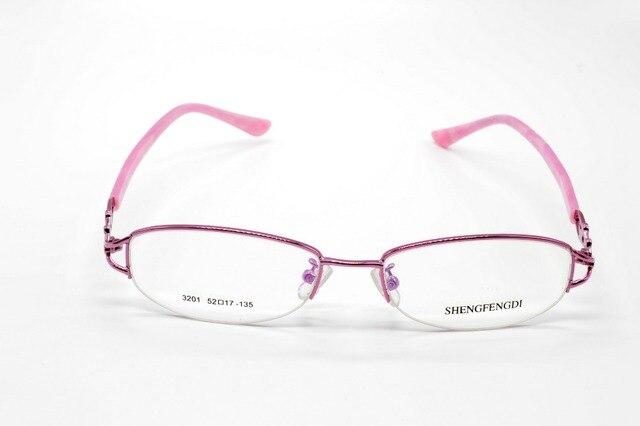 Semi-rim титанового сплава розовый дизайнер дамы очки на заказ оптический близорукость и очки для чтения объектив + 1 + 1.5 + 2 + 2.5TO + 8