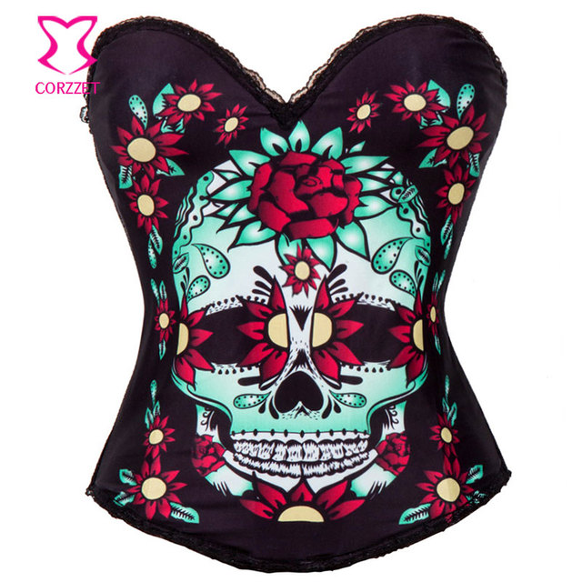 Skull&Floral Print Burlesque Corset Sexy Lingerie Corsage Women Punk Rave Gothic Clothing Corsets And Bustiers Korset Steampunk