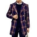 2016 invierno trench coat Hombres duoble Breasted Trench Coat de Los Hombres ropa de Abrigo a cuadros Chaqueta Cazadora Hombres Trinchera Capa Ocasional de Los Hombres escudo