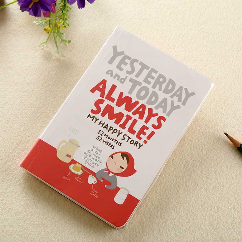 Biuro szkolne śliczny notatnik czerwony kapelusz dziewczyna Agenda tydzień planer pamiętnik terminarz dziennik rekord piśmienne