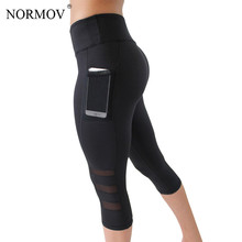 NORMOV Summer Mesh Patchwork Leggings Women Pocekts Capri Pants Women Fitness Sportswear Leggins Sexy Workout Leggings
