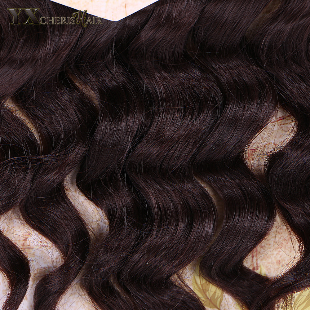 YXCHERISHAIR Heat Resistant Synthetic Hair Weave Bundles 2 Tone Black Blonde High Temperature Fiber Body Wave Weave 8PCS/Pack