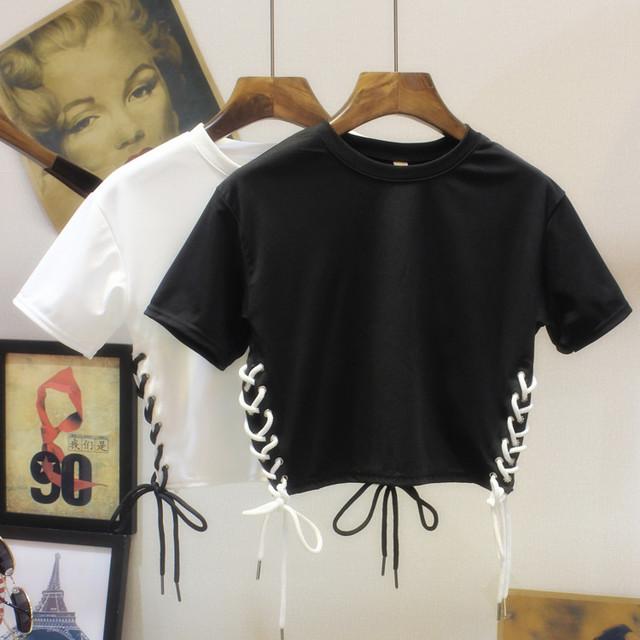 Projeto Curto Colheita Unif Lace Up Correias de Algodão T-shirt Das Mulheres Cor Sólida manga Curta-Punk Gótico Rocha Tee Tops roupas Camisas