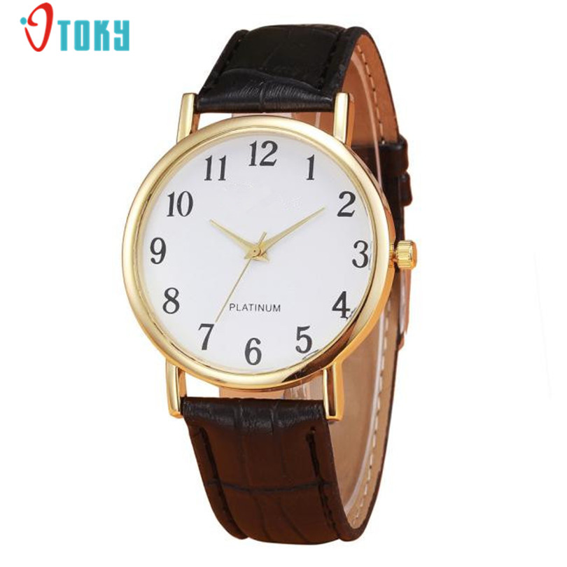 Retro Design Fashion Brand Women Watches PU Leather Band Gold Bezel Clock Analog Alloy Quartz Wrist Watch Creative Jun15 fabulous 1pc new women watches retro design leather band simple design hot style analog alloy quartz wrist watch women relogio