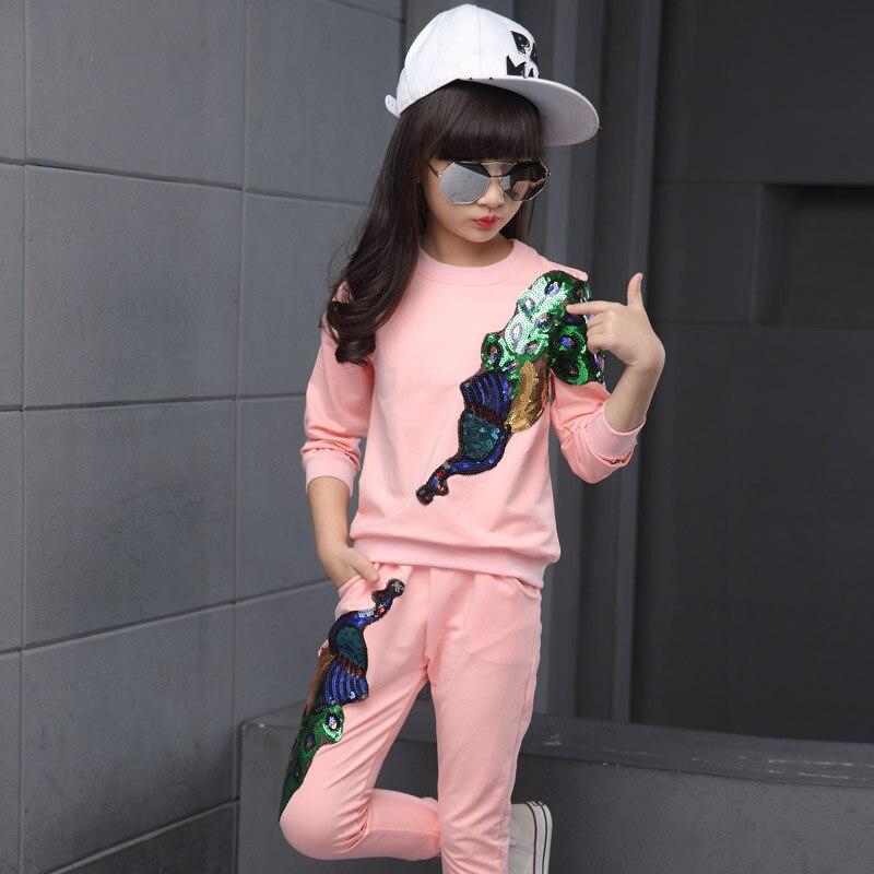 Kid Sports Wear 2018 New Bling Flower Girls Sport Suits Children Sports Suit Girls Clothing Set for Girls Jacket Pants Set цена