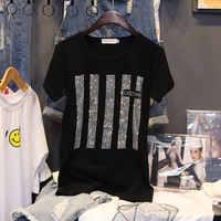 Manica corta T-shirt vestiti delle donne di Estate Nuovo 2020 di modo Caldo di perforazione di stampa di cotone allentato Che Basa La camicia Pullover C1043