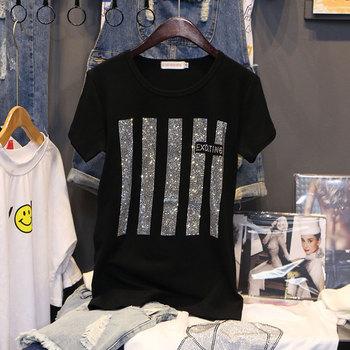 T-shirt z krótkim rękawem damski lato 2021 nowa moda gorący diamentowy nadruk luźny Plus rozmiar bawełniana koszulka do dołu swetry topy damskie tanie i dobre opinie DONAMOL CN (pochodzenie) COTTON spandex diamenty tops Z KRÓTKIM RĘKAWEM SHORT REGULAR Dobrze pasuje do rozmiaru wybierz swój normalny rozmiar