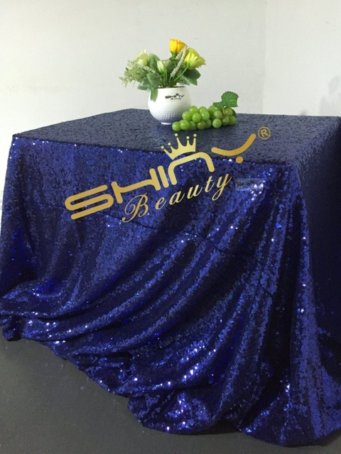 ShinyBeauty High Density 90x108in Sequin Tablecloth Navy Blue Rectangle  Glitter Table Overlays/Cloth