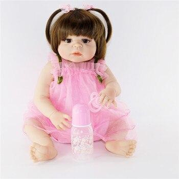 "Full silicone vinyl body baby girl dolls reborn super real baby new born toys dolls child gift Bebes reborn 23""57cm"