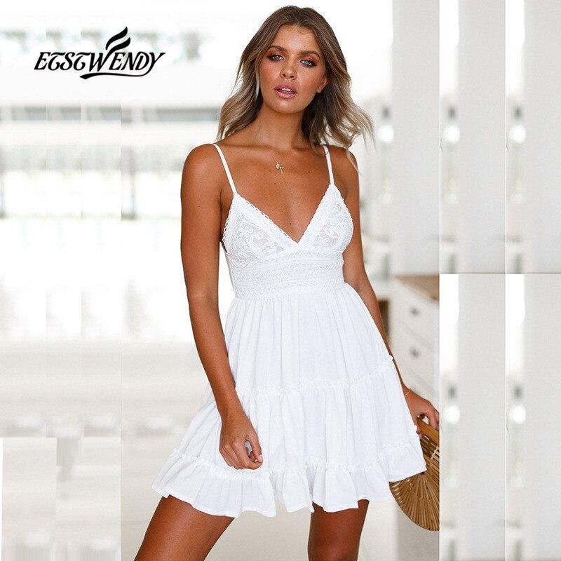 2019 nuevo vestido de verano vestido de moda de las mujeres con cuello en V Sexy Spaghetti Correa vestido de las mujeres sin respaldo arco blanco encaje Mini Vestido de playa Vestidos