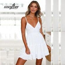 2018 г. новое летнее платье Для женщин Мода v-образным вырезом Спагетти ремень сексуальное платье Для женщин спинки лук белый Кружево мини пляжное платье vestidos