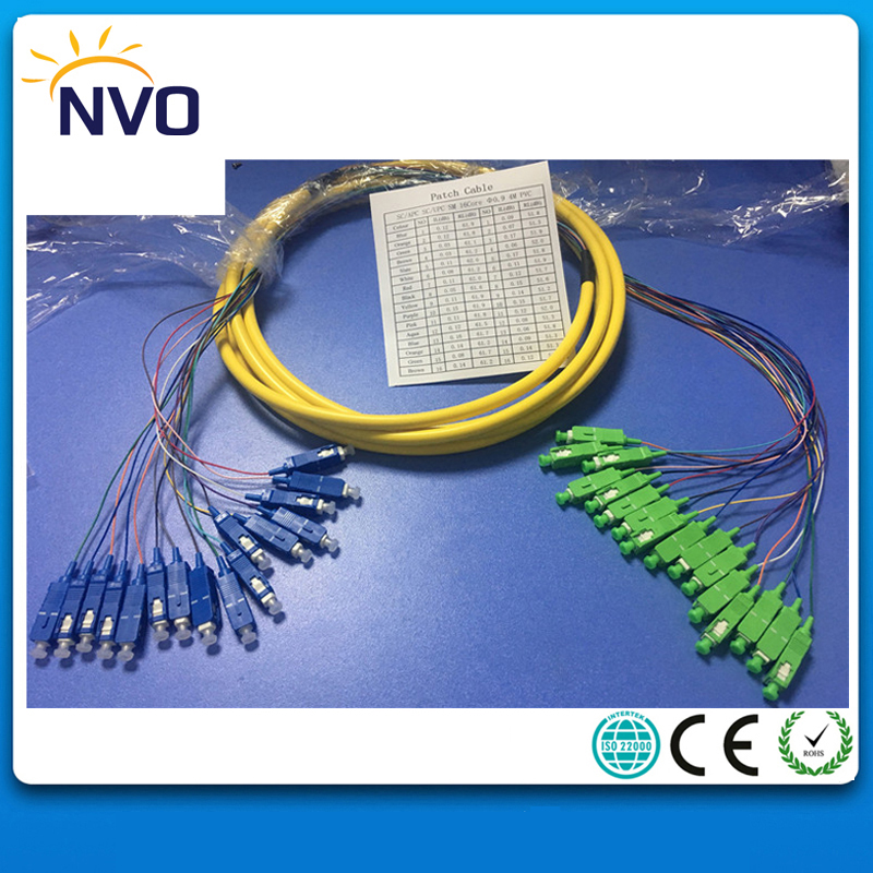 SM,16core,G652D,50cm from Cable to Connector,L:4M,PVC Jacket,SC/APC-SC/UPC Bundled Patch Cord/Fiber Optic Distribution Pigtail