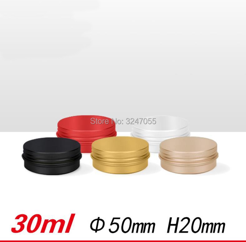 30ml/g Gold Elegant Empty Aluminum Cosmetic Cream Pacaging, DIY Red High-end Pills Storage Case, Black Portable Metal Tin Pots survival kit tin higen lid small empty silver flip metal storage box case organizer for money coin candy keys