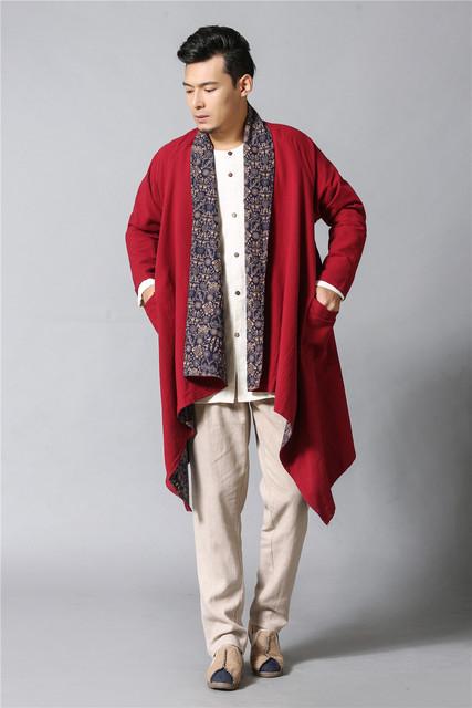 Mens Trench Coat outono lençóis de algodão de impressão reversível Vento Disjuntor disjuntor brasão do vento literário longo poeira casaco casaco de vento ocasional 2 cores