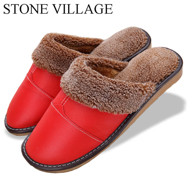 Plus Size 35-44 Genuine Leather Warm  Winter Home Slippers Non-Slip Thick Warm House Shoes Cotton Women Men Slippers 5 Colors 1